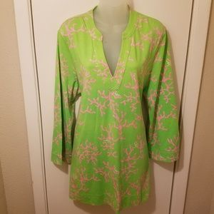 Lilly Pulitzer Joy Knit Green Pink Coral Tunic Top